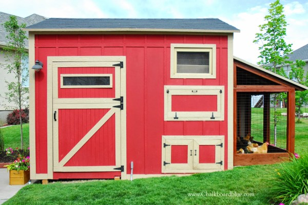 DIY Chicken Coop with Attached Storage Shed by Chalkboardblue featured on Remodelaholic