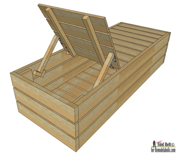 Enjoy the weather outdoor in style. Build a DIY outdoor lounge chair with storage following these deck lounger woodworking plans.