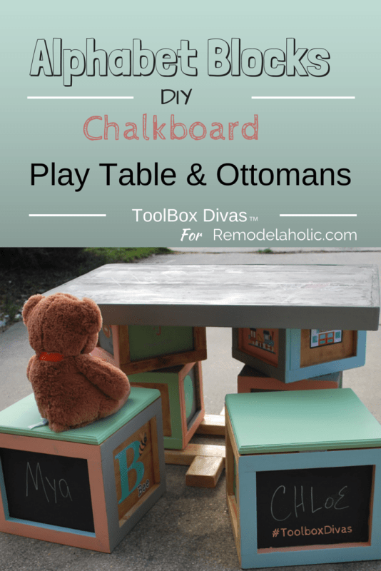 Playtable Set with Chalkboards by ToolBox Divas for Remodelaholic/com