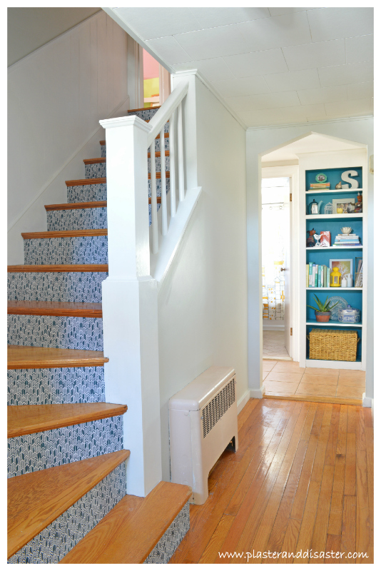 Stairway Update with Wood Tread and Fabric Riser by Plaster and Disaster featured on @Remodelaholic