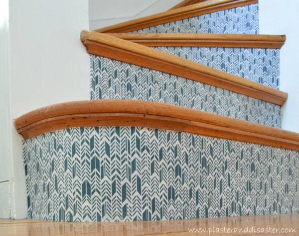 Stairwell Transformation with Fabric Risers by Plaster and Disaster featured on @Remodelaholic