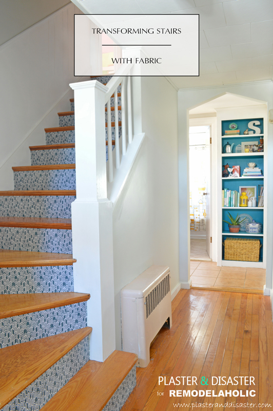 Stairwell Transformation with Fabric by Plaster and Disaster featured on @Remodelaholic