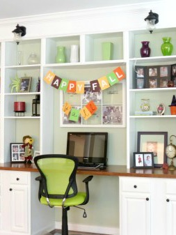 Decorated Wall To Wall Built In Shelves And Desk Home Is Where My Heart Is Featured On Remodelaholic