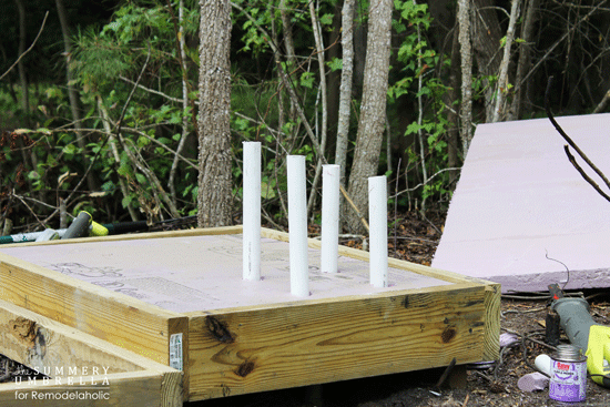 use foam, pvc, lumber, and concrete to make a DIY waterfall feature