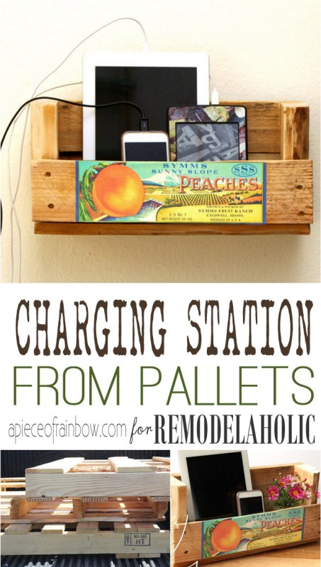 Turn a pallet into an easy wall-mount or desktop charging station to hold your devices! Plus a free printable vintage crate label