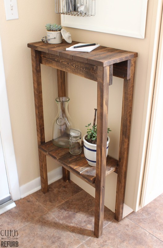 DIY Console Table Tutorial by Curb to Refurb featured on Remodelaholic