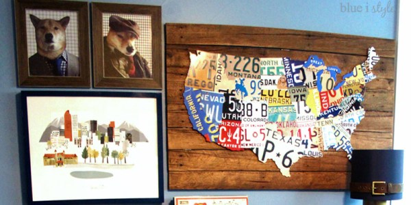 DIY License Plate Map Wall Art by Blue i Style featured on Remodelaholic