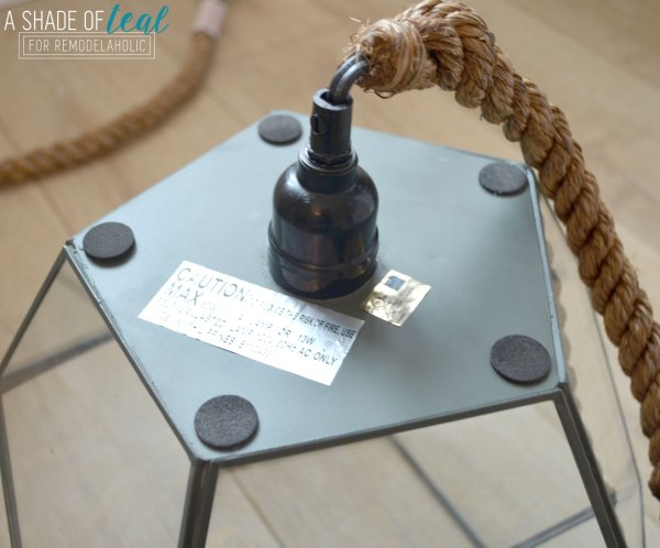 DIY Light Fixture from a Geometric Terrarium by A Shade of Teal featured on Remodelaholic