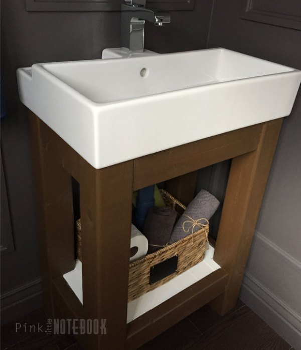 DIY Open Vanity with an IKEA Sink by Pink Little Notebook featured on Remodelaholic
