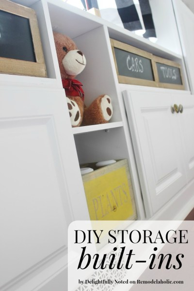 DIY Storage Built-ins - how to use cabinets to create your own built in shelving, perfect for storage in a playroom, living room, or family room @Remodelaholic