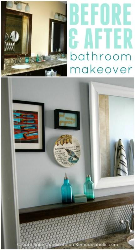 DIY bathroom makeover with fresh gray paint, penny tile backsplash, floating wood shelf, framed mirror