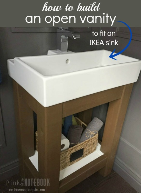 Easy Open Vanity How-To and Building Instructions - fits an IKEA sink, and perfect for a small bathroom to make it feel bigger