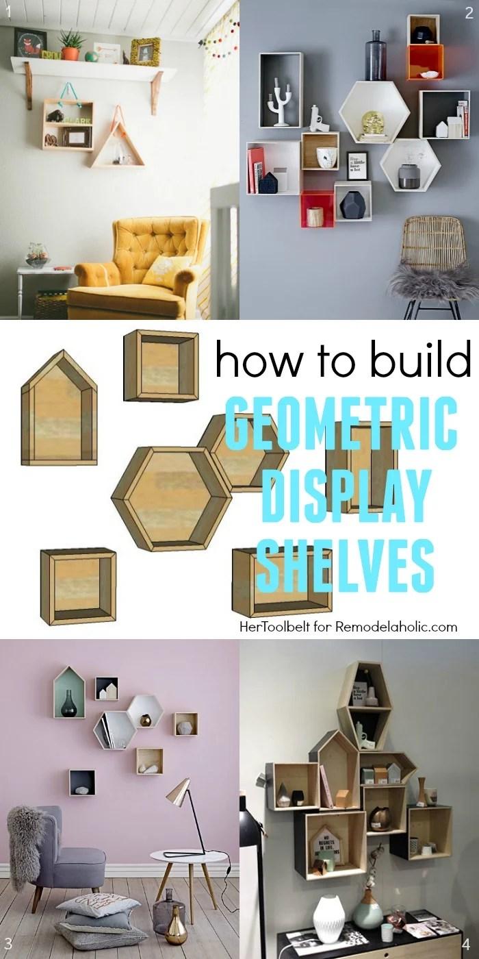Remodelaholic diy geometric display shelves for Easy way to make shelves