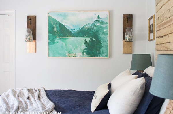 How to Create Large Scale Watercolor Wall Art by Upcycled Treasures for Remodelaholic