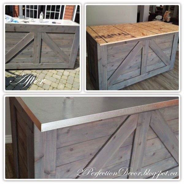 How to Make a Galvanized Counter Top and Wooden Bar by 2Perfection Decor Blog featured on Remodelaholic