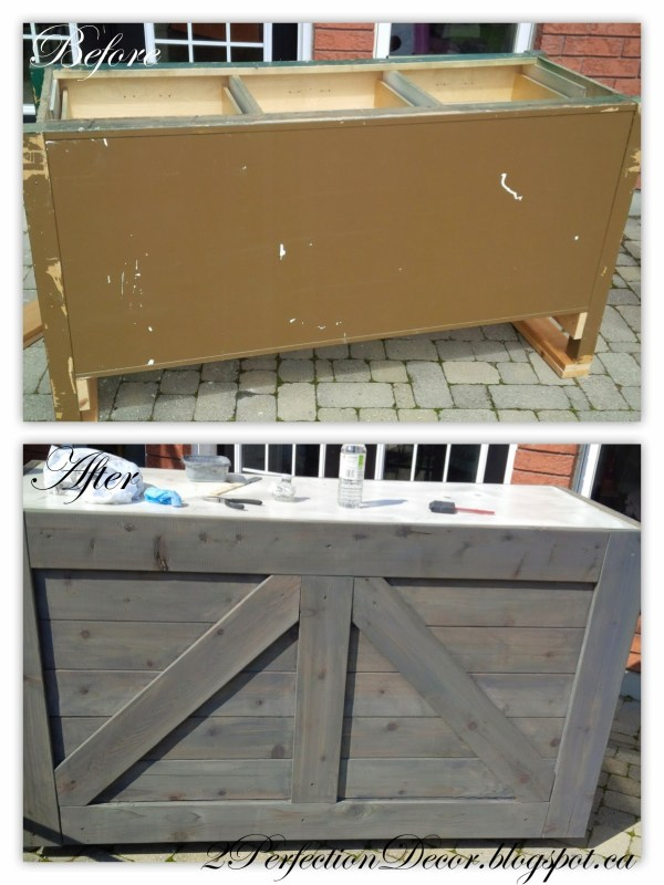 How to Make a Rustic Wooden Bar with Galvanized Counter from an old Cabinet by 2Perfection Decor Blog featured on Remodelaholic