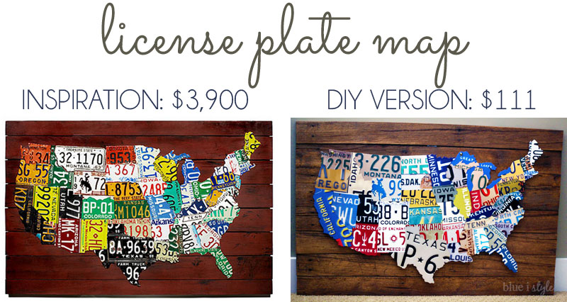 License Plate Map Wall Art Cost Comparison by Blue i Style featured on Remodelaholic