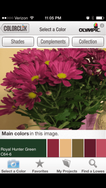 Olympic ColorClix - Free iPhone app to Create a Paint Palette from a Photo @Remodelaholic
