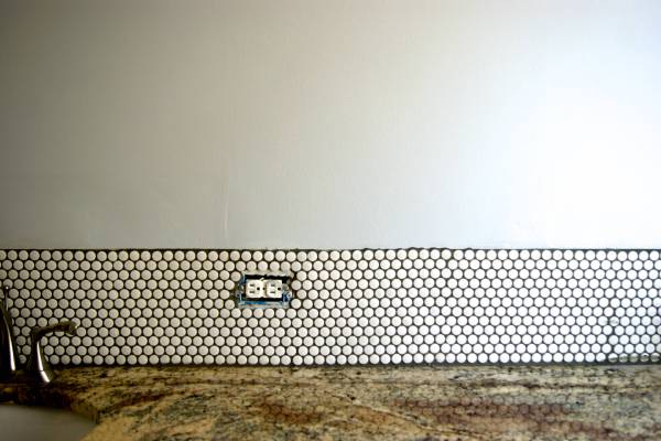 DIY penny tile backsplash