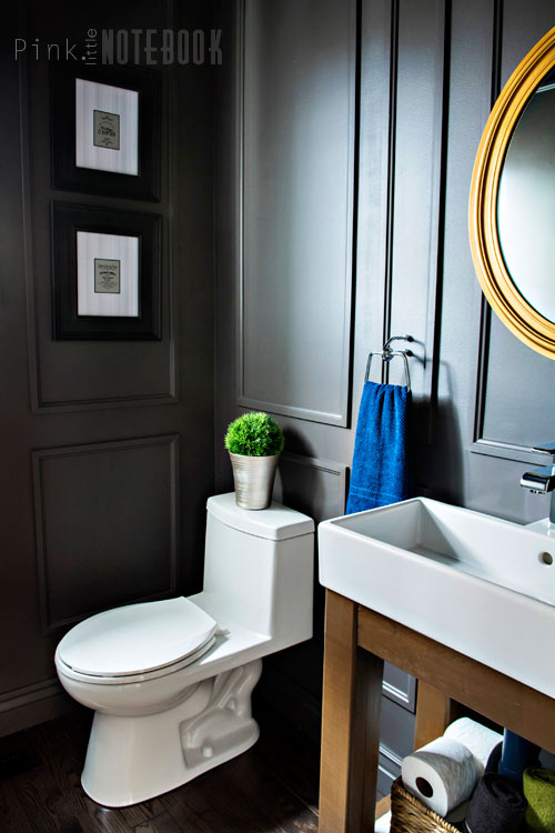 Powder Room Makeover with Simple Open Vanity DIY - great idea for a small bathroom!