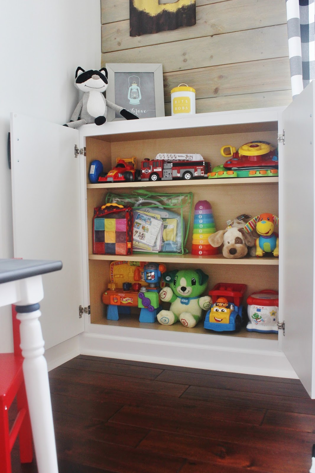 Remodeled playroom with built in storage by delightfully noted featured on remodelaholic