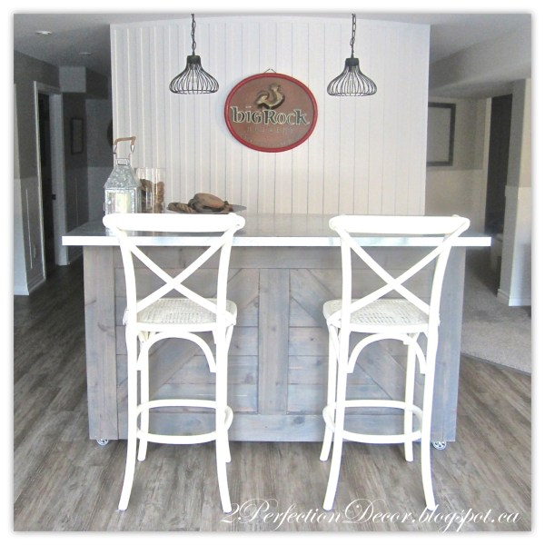 Rustic Bar with Galvanized Counter Top by 2Perfection Decor Blog featured on Reodelaholic