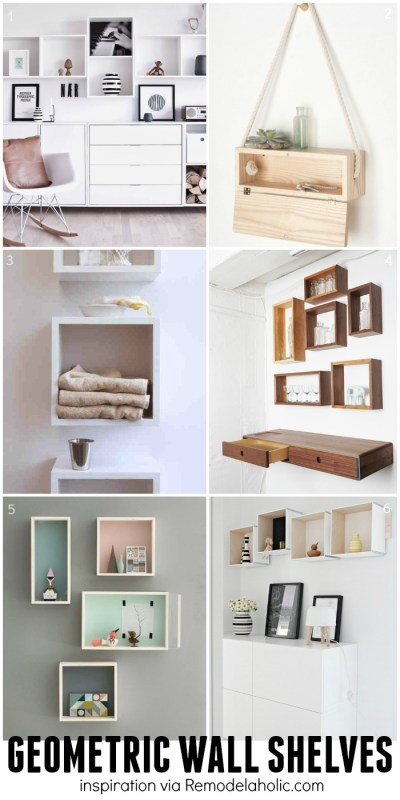 Square and Rectangle Geometric Shelves Inspiration - plus a building plan for the easy geometric shelves!