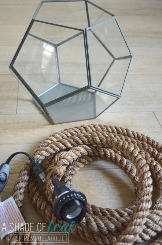 Terrarium to Geometric Pendant Light by A Shade of Teal featured on Remodelaholic