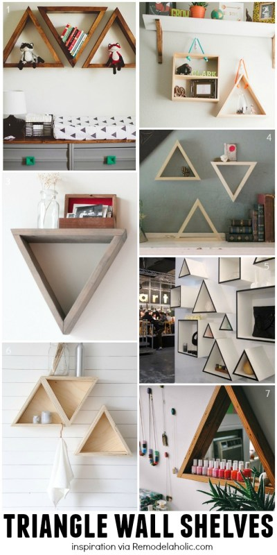 Triangle Wall Shelving Ideas - plus a building plan for the easy geometric shelves!