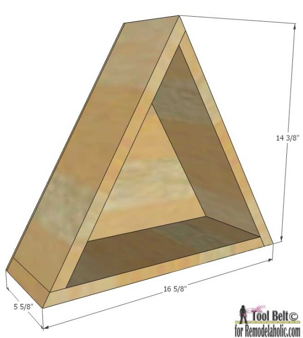 Triangle shelf - dimensions