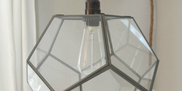 diy geometric light fixture from a terrarium