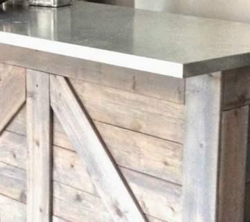 IKEA Hack Rustic Bar with Galvanized Metal Top