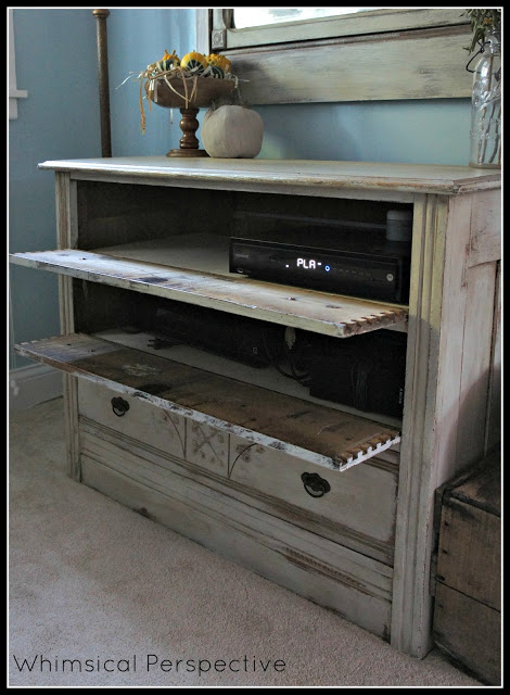 dresser media cabinet with hinged drawers to hide dvd player and electronics (Whimsical Perspective)