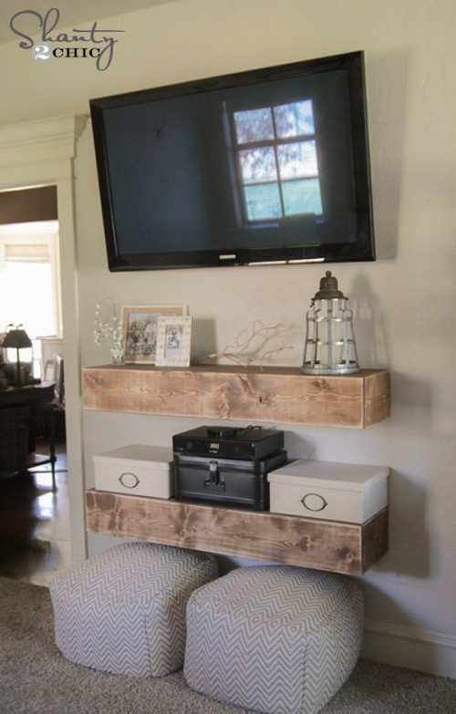 open floating media shelves under the TV (Shanty2Chic)