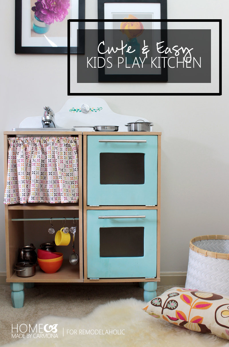 Remodelaholic | Cute & Easy Kids Play Kitchen from a Cube Shelf