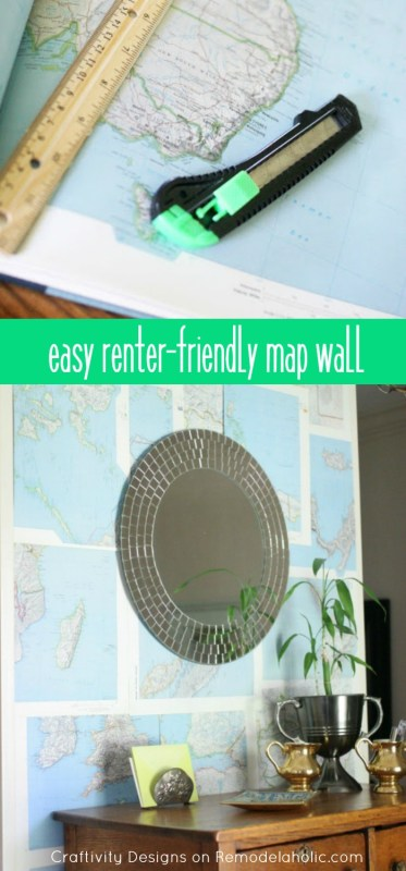 Easy DIY Map Wall -- renter friendly, no nails or holes in the wall