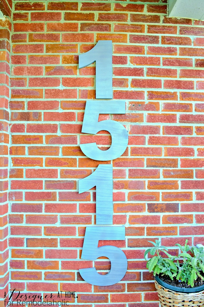 Extra large faux brushed nickel finish modern house numbers -- 14 inches tall!