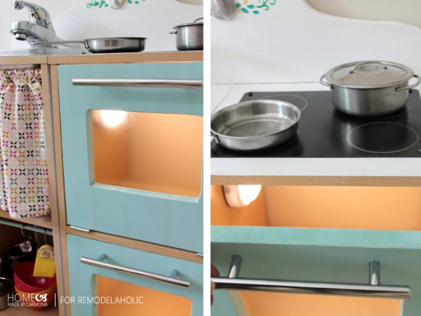 Cute little play kitchen, easy and cheap to make. Even has a light in the oven!