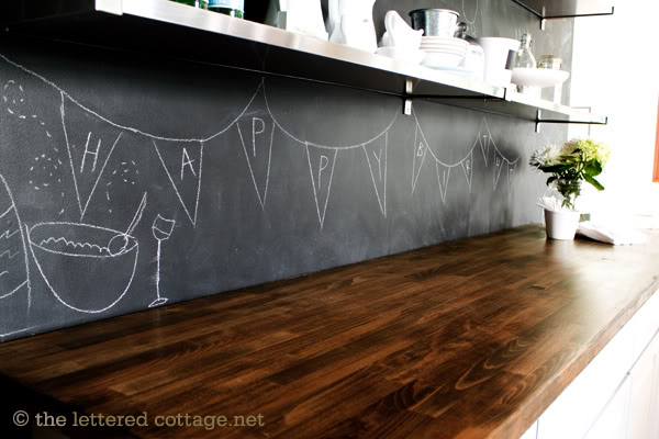 black chalkboard backsplash (The Lettered Cottage)