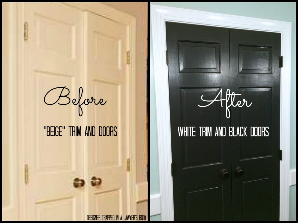 black painted doors Valspar Kettle Black (Designer Trapped) & Remodelaholic | Decorating With Black: 13 Ways To Use Dark Colors In ...