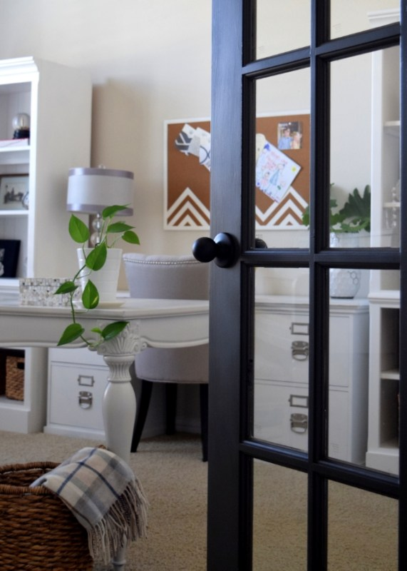 black painted french doors, SW Urbane Bronze (This Is Happiness Blog)