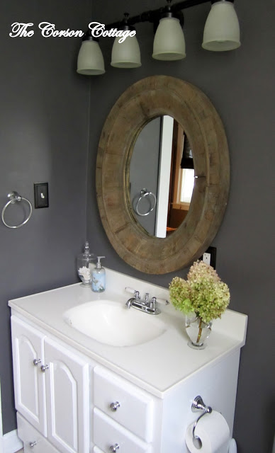 charcoal dark gray painted bathroom