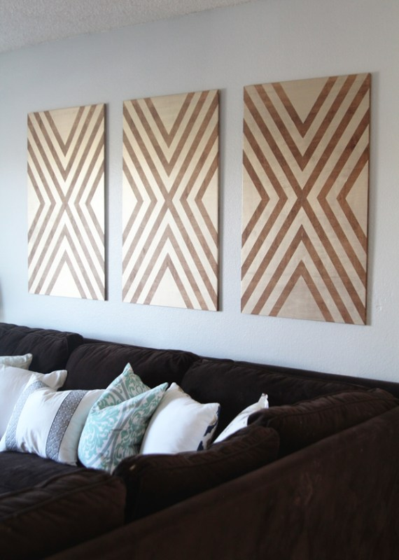 diy large wall art from plywood, tape, and paint (via Home Depot)