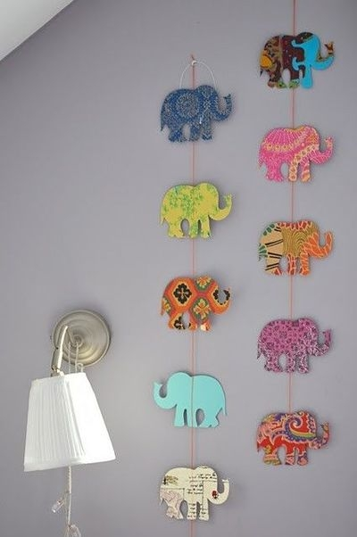 Easy Art Ideas for Kids Room Decor: easy diy elephant wall art (via hercampus)