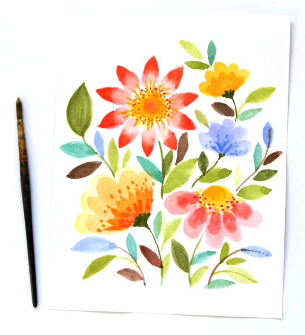 easy diy tutorial for watercolor painted flowers (A Piece of Rainbow)