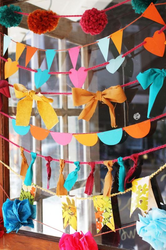 Easy Art Ideas for Kids Room Decor: easy garlands kids can make to decorate (A Beautiful Mess)