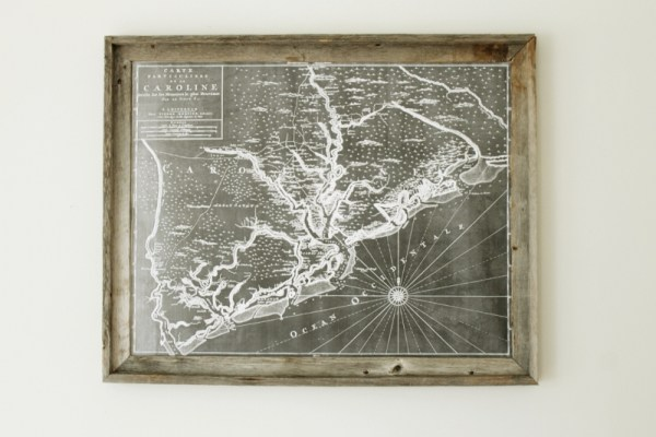 DIY Wall Decor: large engineer printed map with diy wood frame (via Life Made Lovely)