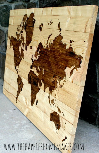 extra large wood wall map art (The Happier Homemaker)