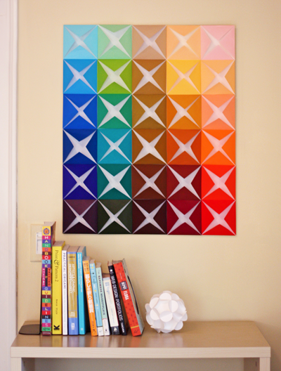 Easy Art Ideas for Kids Room Decor: folded paper origami wall art diy (How About Orange)