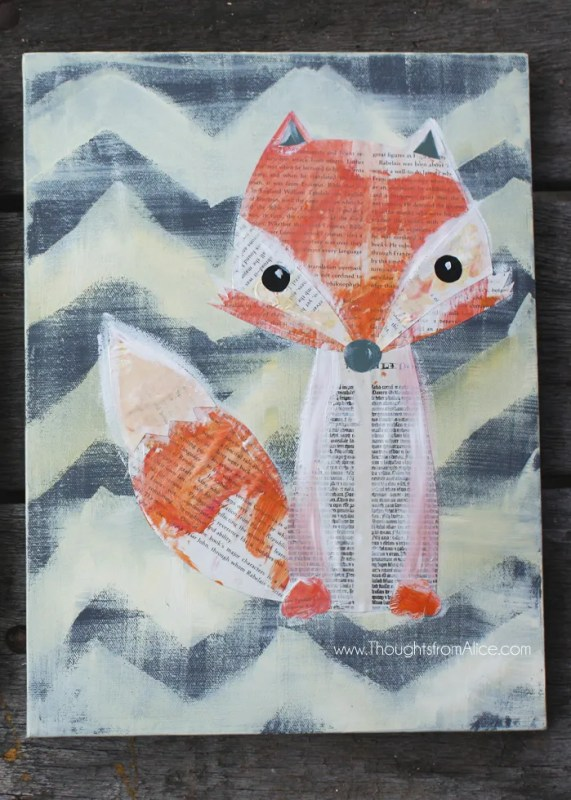 Easy Art Ideas for Kids Room Decor: fox woodland animal collage kids can help make (Thoughts From Alice)